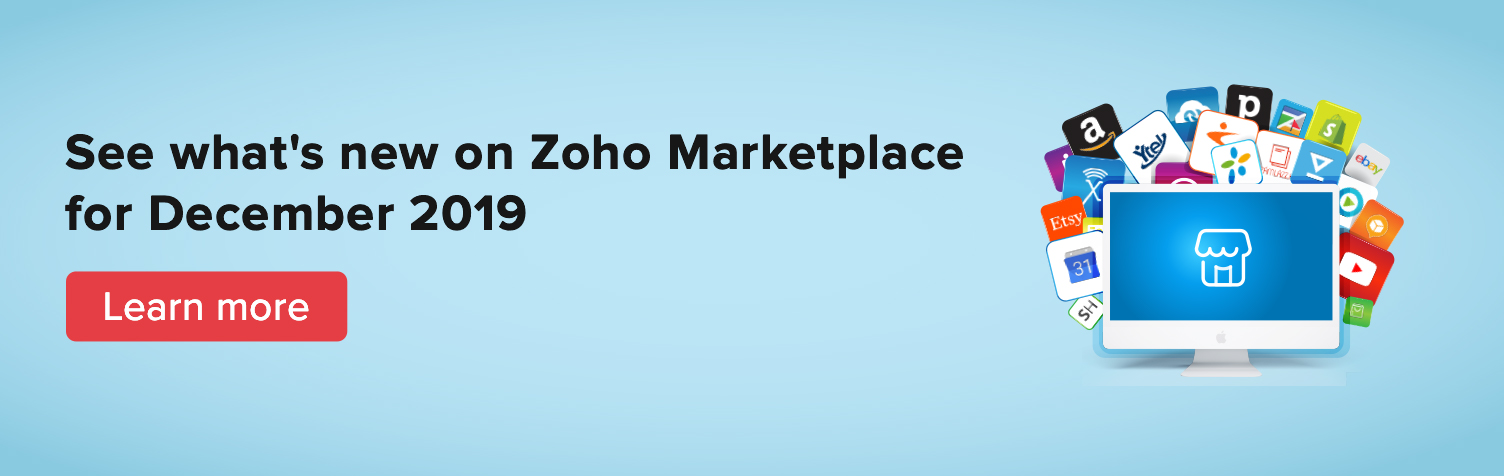 New on Zoho Markeplace for December 2019