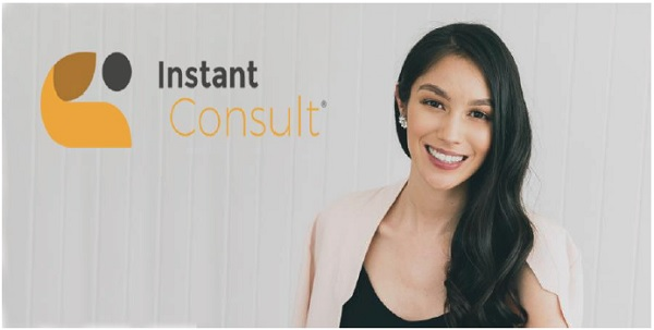 Instant Consult logo next to a photo of MD Bianca Brown