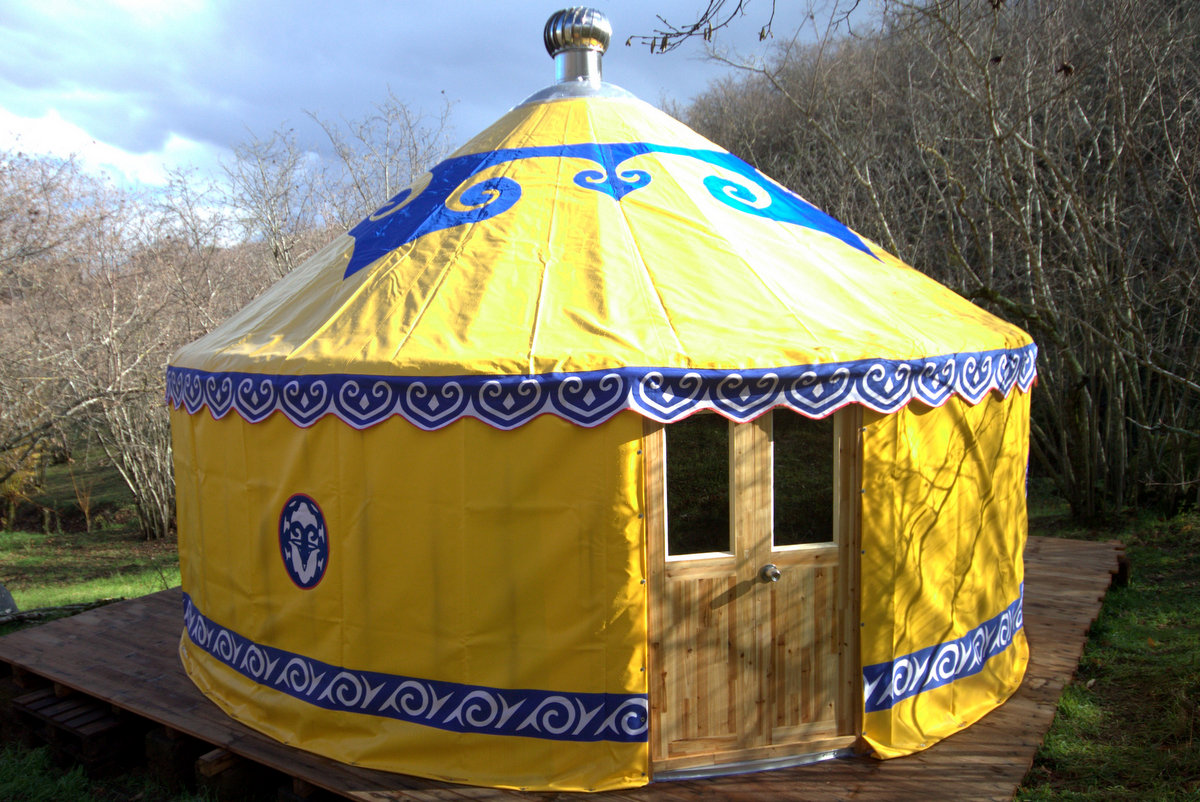 The Yellow Yurt in the Woods at the Sanctuary of Joy