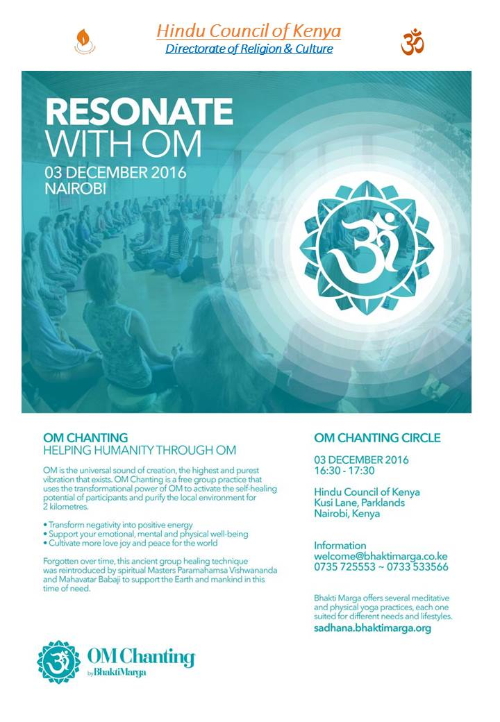 Om Chanting-SAT 03-DEC-4:30PM-5 30PM-Hindu Bhavan-Kusi Lane