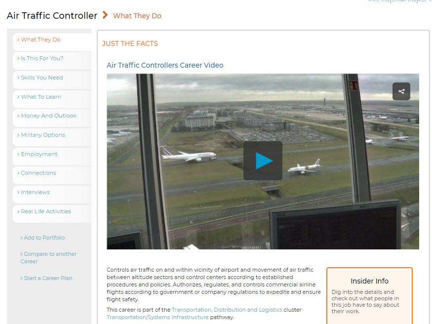 New CareerOneStop video for air traffic controller