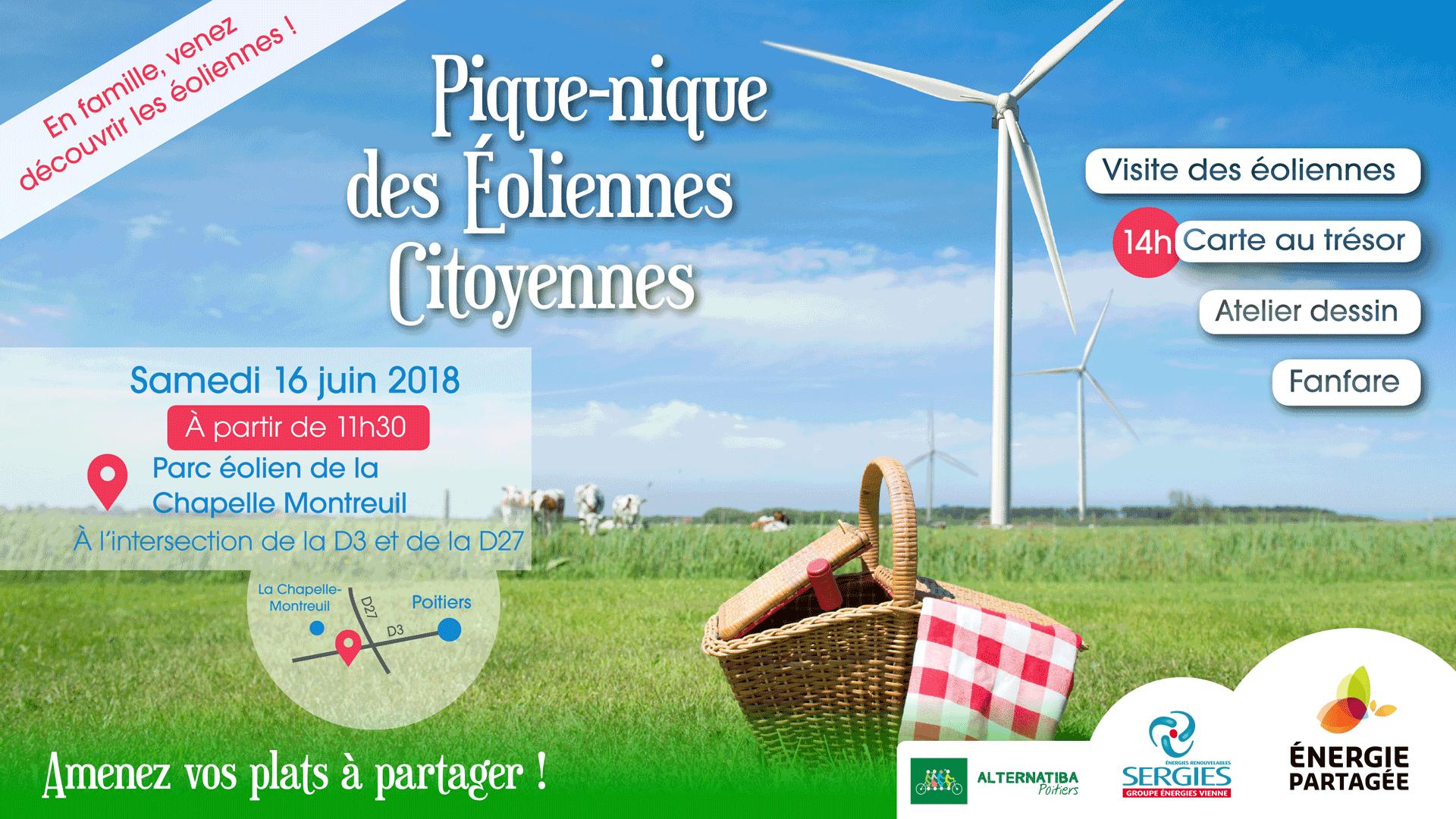 Le Pique-Nique des Eoliennes citoyennes, c'est aussi une fanfare, un atelier dessin, une carte au trésor, des visites des éoliennes...