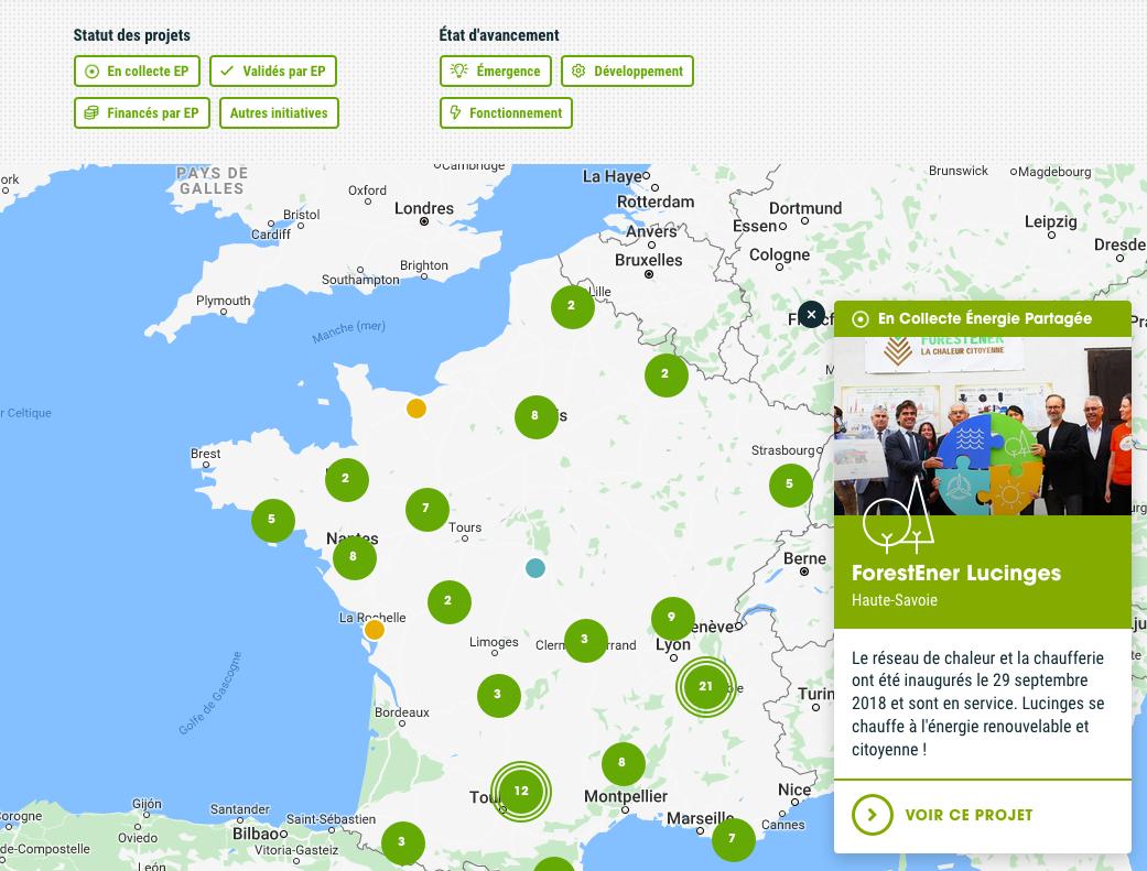 la carte de France des projets citoyens d'énergie renouvelable
