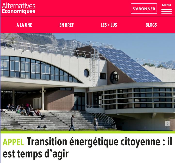 Tribune pour la transition énergétique citoyenne Alternatives économiques