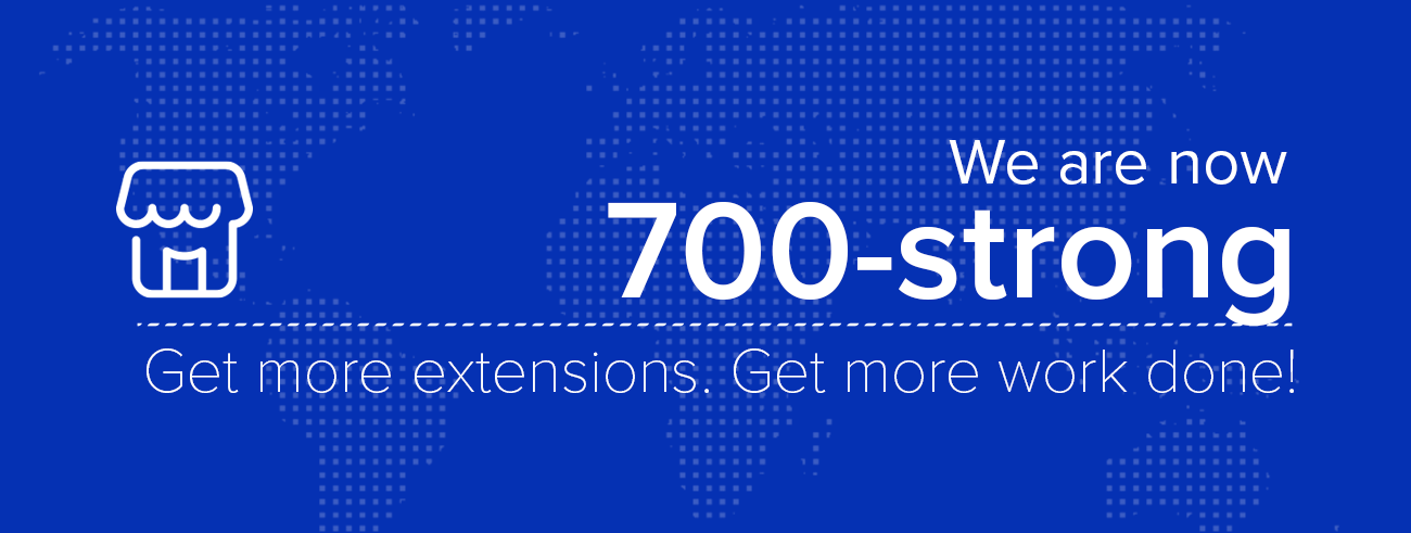 700 extensions in the marketplace
