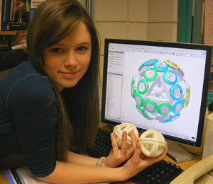 Student with CAD and 3D Part