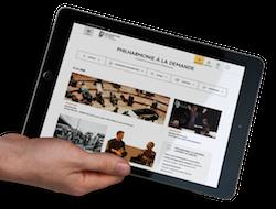 Accueil de Philharmonie à la demande sur une tablette tactile
