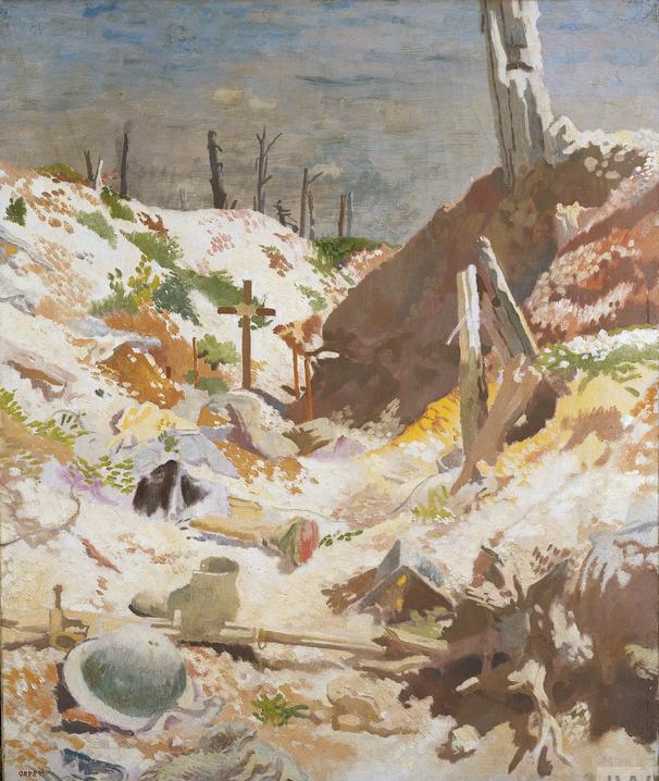 Une tombe dans une tranchée, peinture de William Orpen, 1917. Imperial War Museum Non-Commercial Licence