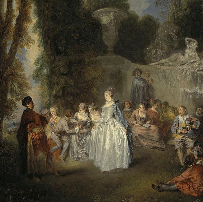 Fêtes vénitiennes, peinture de Antoine Watteau, 1718, Scottish National Gallery