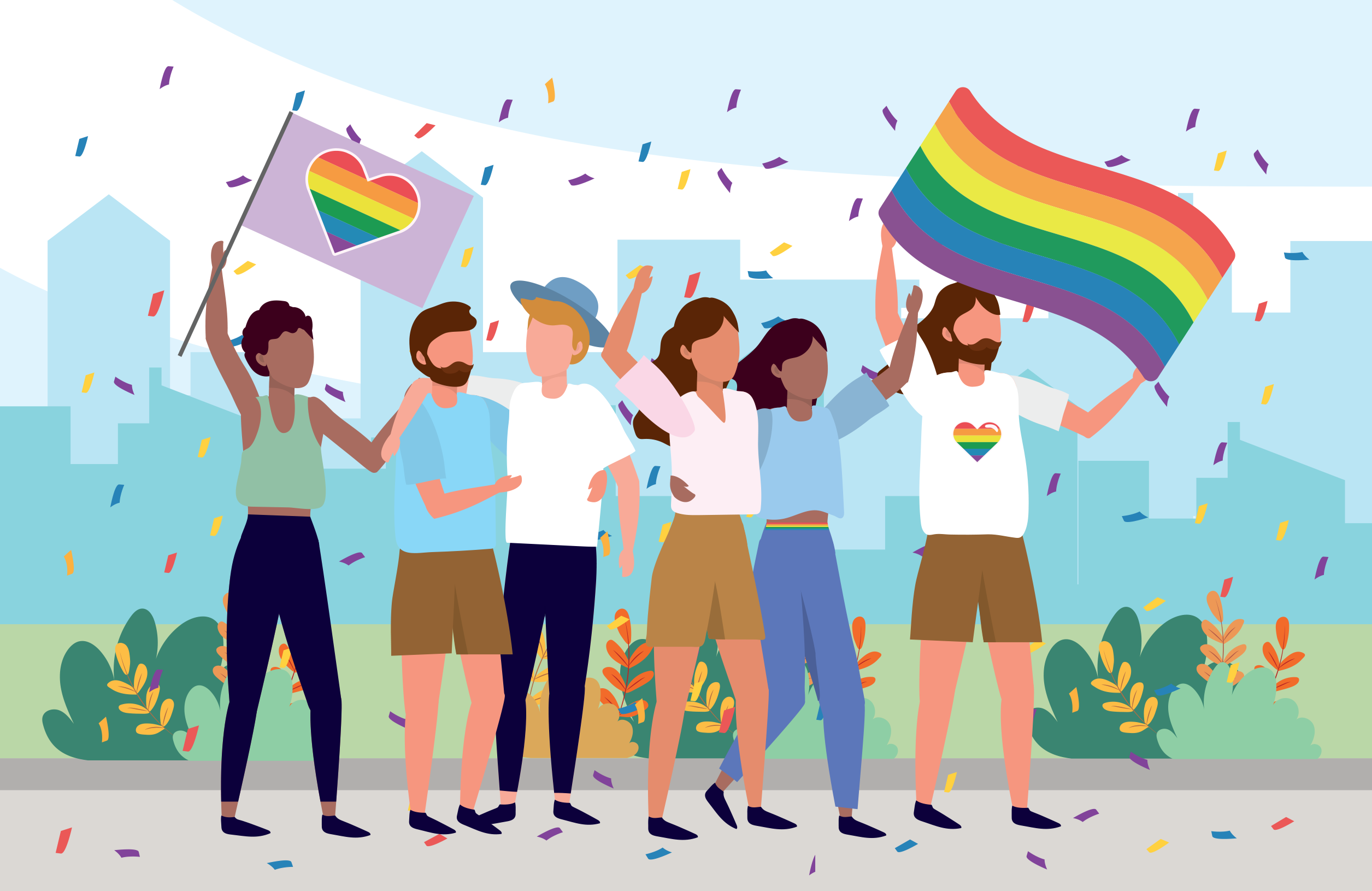 A cartoon of people celebrating pride with rainbow flags.