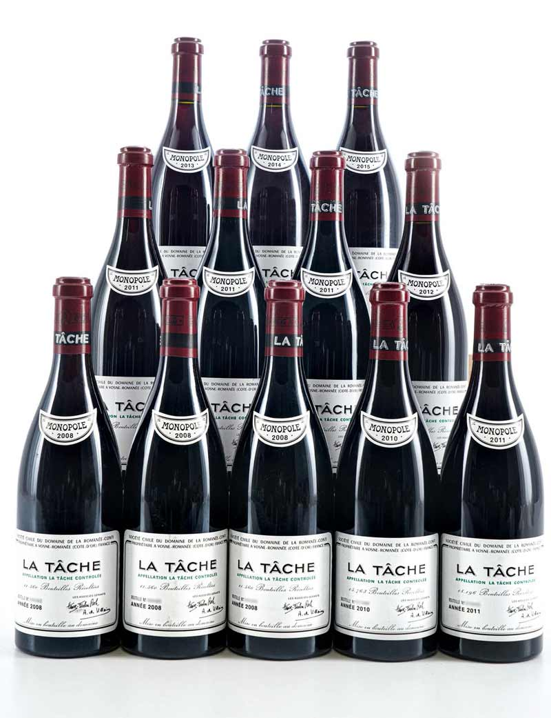 Lots 294-301: 3 bottles 2008 and 1 bottle each 2010-2015 DRC La Tâche