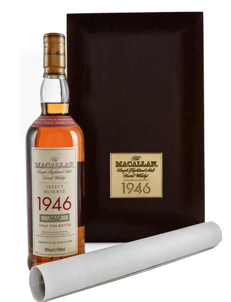 Lot 467: 1 700ml 1946 Macallan Single Malt Scotch Whisky, 52 Years, Select Reserve in OWC