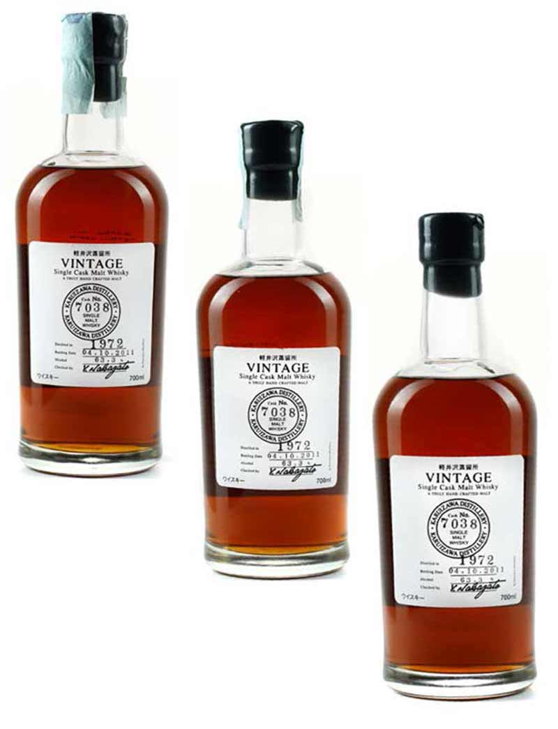 Lot 511 3 700mls 1972 Karuizawa Single Cask Japanese Whisky, 7038 Vintage