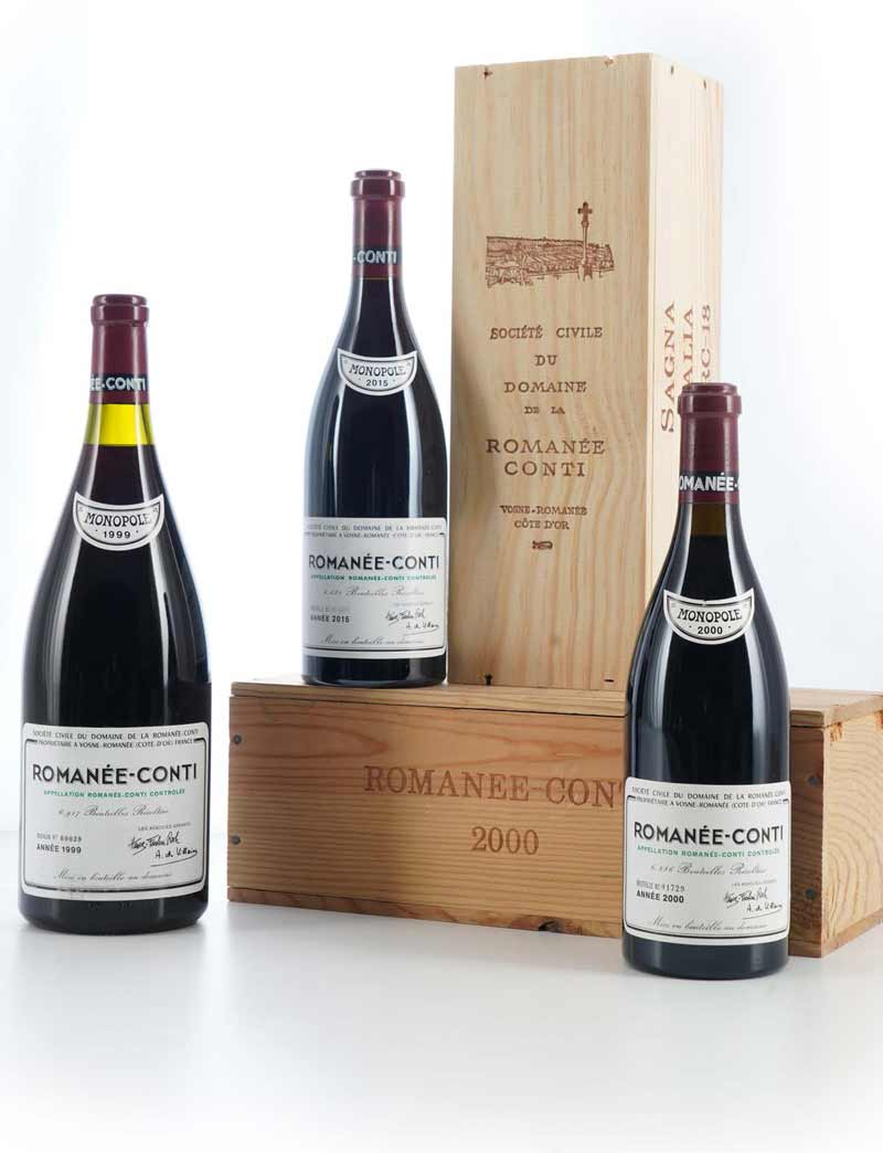 Lot 159-161: 1 magnum 1999 and 1 bottle each 2000 and 2015 DRC Romanee Conti