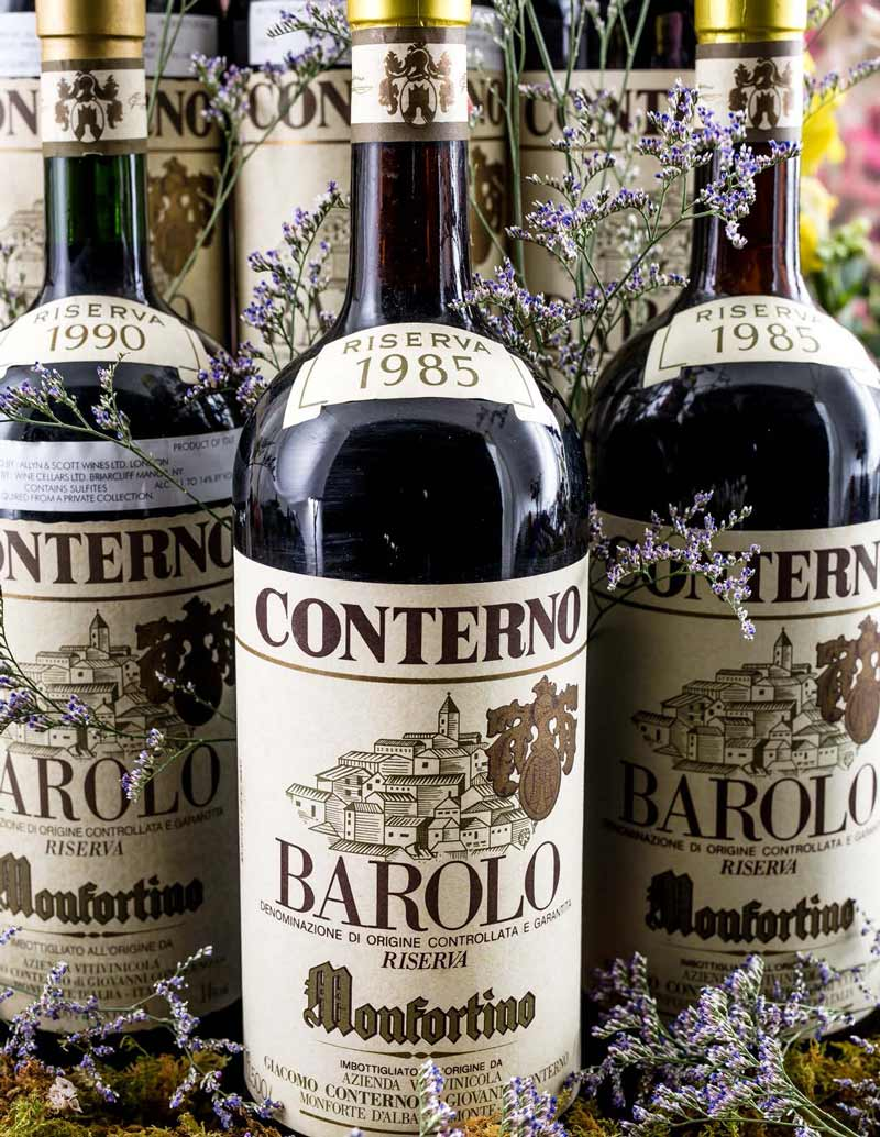 Lots 367, 371: 3 magnums each 1985 and 1990 G. Conterno Barolo Monfortino Riserva