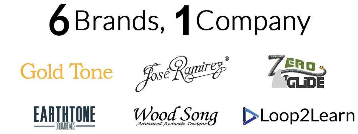 6 Brands, 1 Company. Gold Tone, Jose Ramirez, Zero Glide, Earthtone, Wood Song, GT Series