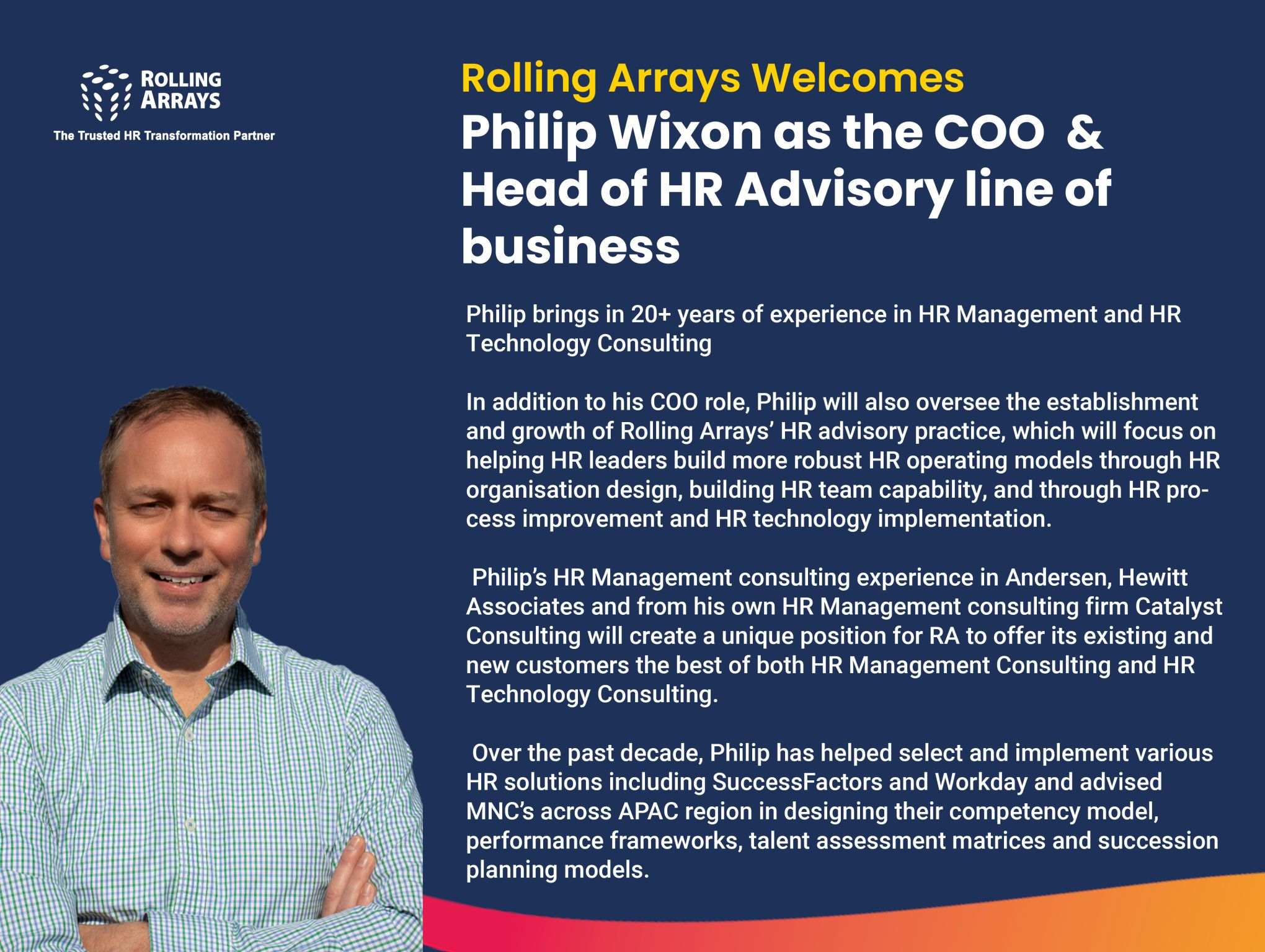 Rolling Arrays announces appointment of Philip Wixon as the Chief Operating Officer