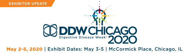 DDW2020, May 2-5, 2020, Exhibit Dates: 3-5, McCormick Place, Chicago, IL