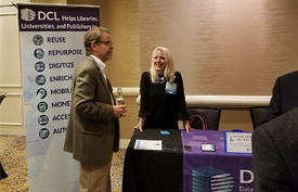 DCL's Sarah LeBeau with Patrick Reakes from the University of Florida at the 60th Annual NFAIS Conference.